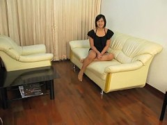 young cute ladyboy Masturbating on the couch…